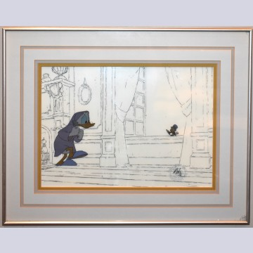 Original Walt Disney Production Cel from Mickey's Christmas Carol featuring Scrooge McDuck and Jiminy Cricket