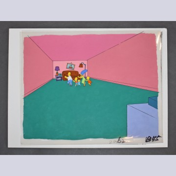 Original Simpsons Production Cel on Production Background from the Simpsons