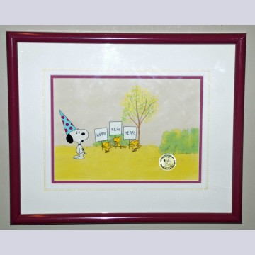 Original Peanuts Production Cel and Matching Production Drawings featuring Snoopy and Woodstock
