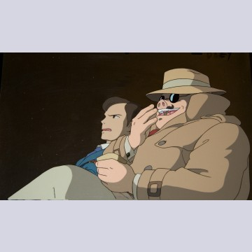 Original Studio Ghibli Production Cel from Porco Rosso (1992) featuring Porco Rosso and Ferrarin