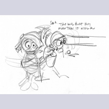 "Chuck Jones Layout Drawing, ""This Will Hurt Him More Than It Will Me"", Featuring Marvin the Martian"