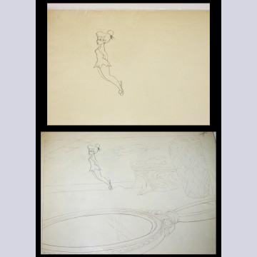 Original Walt Disney Matched Set of Production Drawing and Transparency of Tinker Bell from Peter Pan