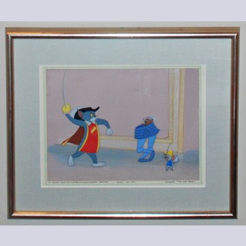 "Original Hanna Barbera Production Cel on Production Background from Tom and Jerry ""Royal Cat Nap"""