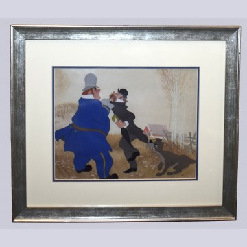 Original Walt Disney Production Cel from Lady and the Tramp featuring Tramp, Professor, and Policeman