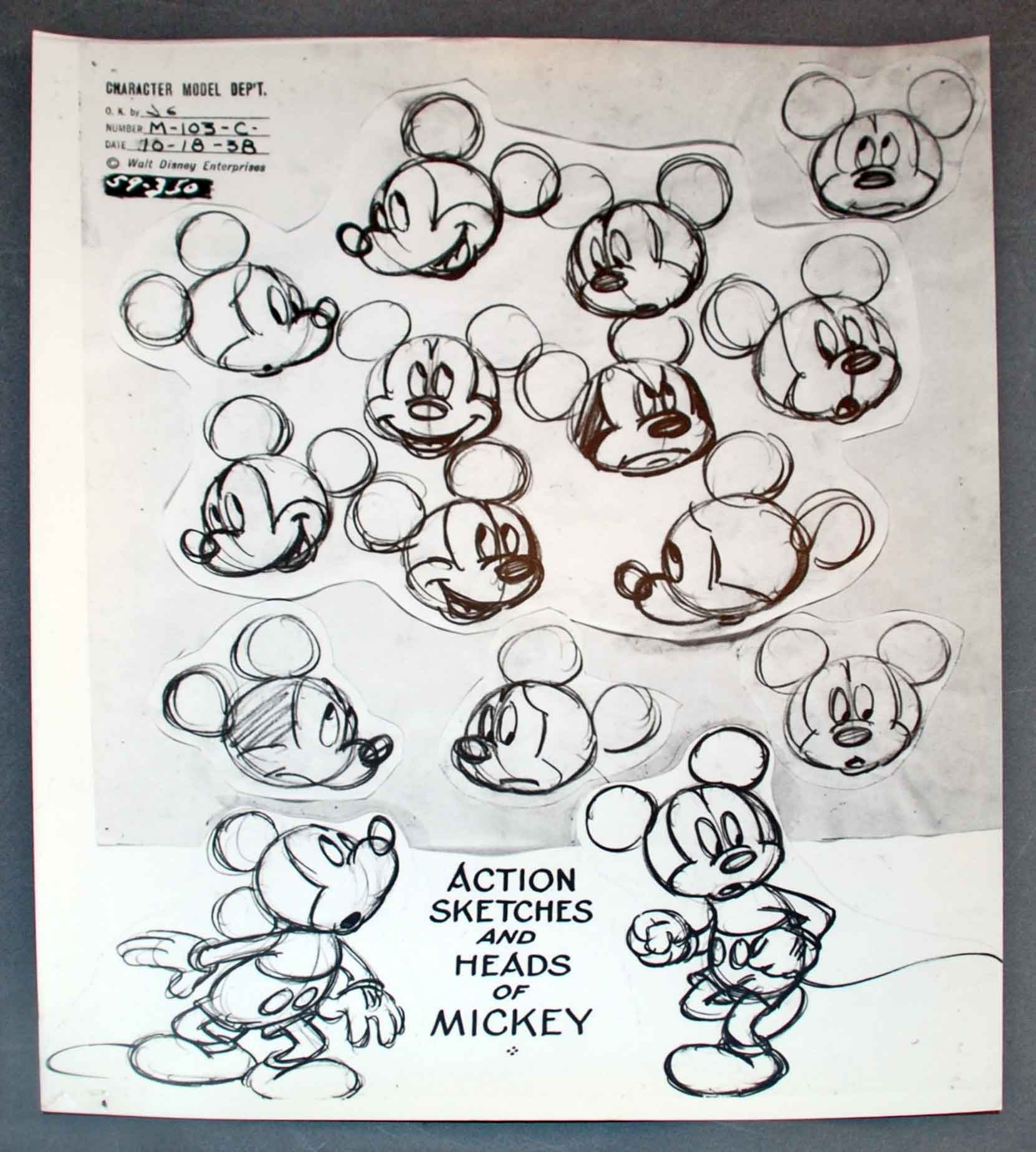 Original Walt Disney Model Sheet Mickey Mouse Action ...