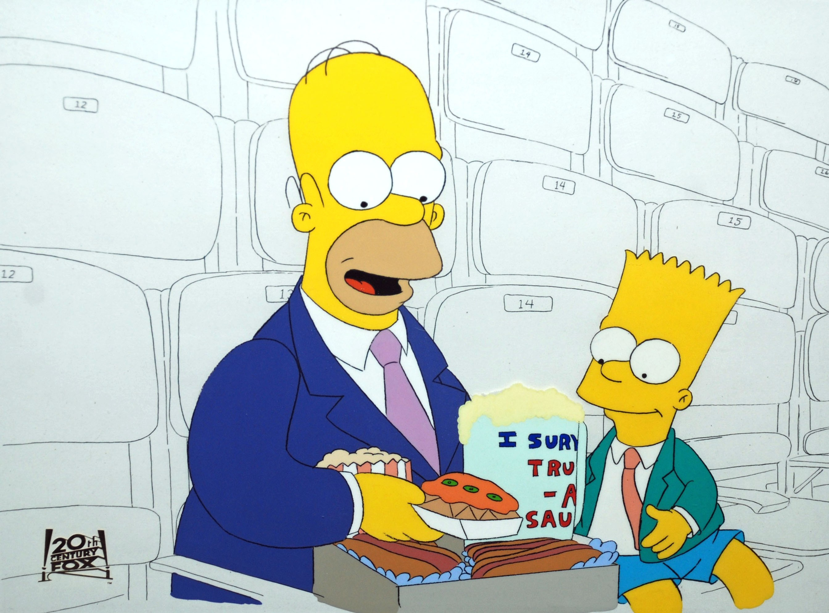 The simpsons production cel animation sensations - Homer simpson and bart simpson ...