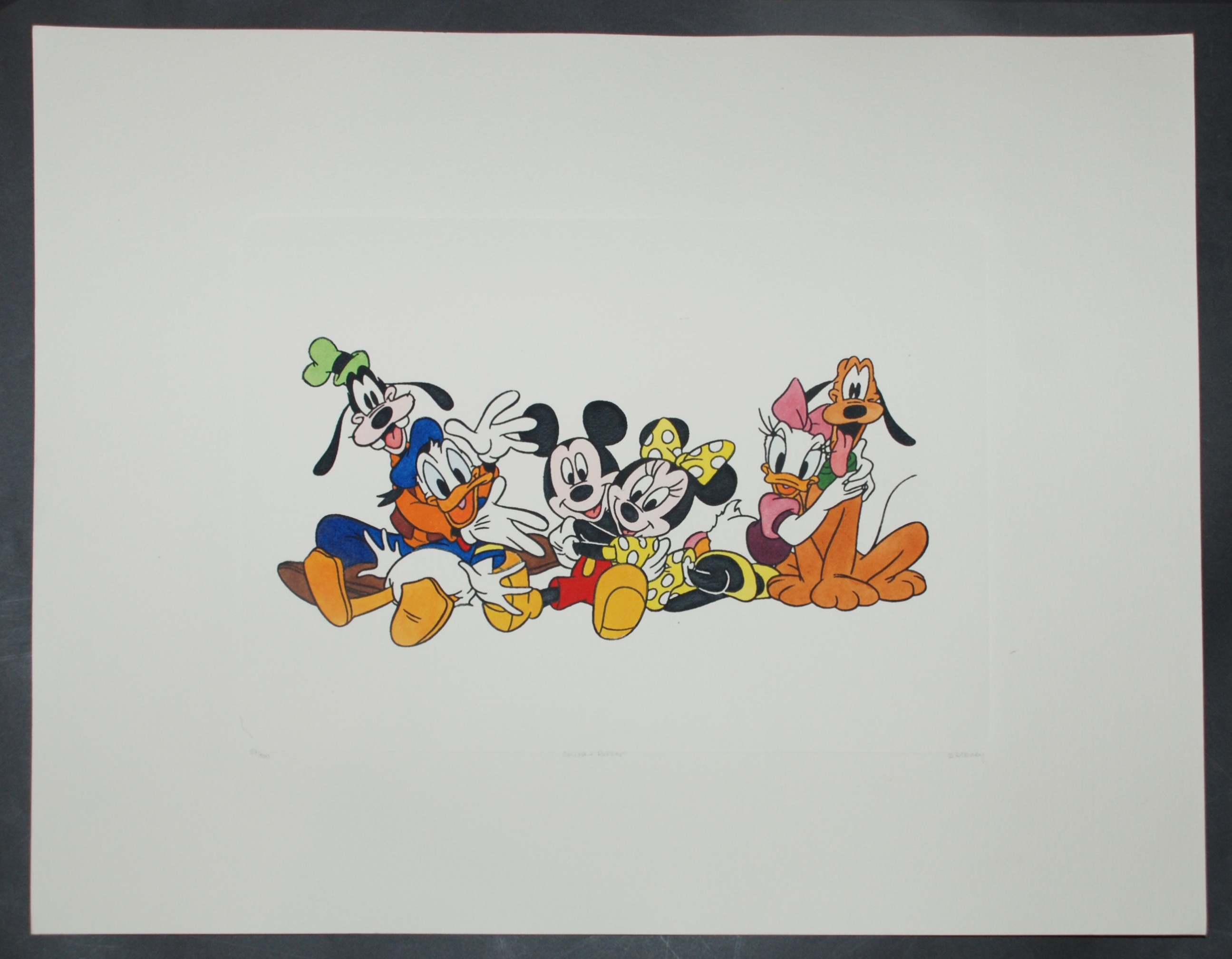 Disney Animation Art Hand Colored Etching Featuring Mickey Mouse And Friends
