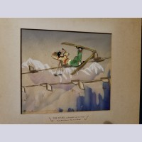 Original Walt Disney Production Cel on Courvoisier Background from The Art of Skiing
