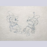 Original Walt Disney Production Drawing of Mickey Mouse and Minnie Mouse from Two-Gun Mickey (1934)