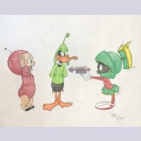 Warner Brothers Virgil Ross Animation Drawing of Daffy Duck, Porky Pig, Marvin the Martian
