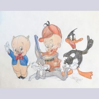 Warner Brothers Virgil Ross Animation Drawing of Bugs Bunny, Elmer Fudd, Daffy Duck, Porky Pig