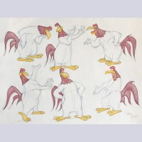 Warner Brothers Virgil Ross Animation Drawing of Foghorn Leghorn