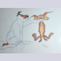 Warner Brothers Virgil Ross Animation Drawing of Sam Sheepdog and Wile E. Coyote