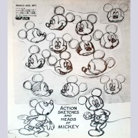 Original Walt Disney Model Sheet Mickey Mouse Action Sketches and Heads