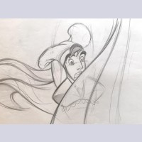 Original Walt Disney Production Drawing Featuring Aladdin