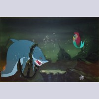 Original Walt Disney Production Cel from The Little Mermaid featuring Ariel and The Shark
