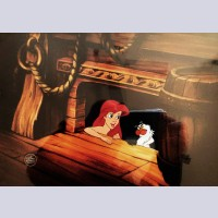 Original Walt Disney Production Cel from The Little Mermaid featuring Ariel and Scuttle