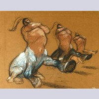 Original Disney Concept Pastel Drawing By James Brodero of Centaurs from Fantasia