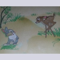 Disney Animation Production Cel Featuring Bambi and Thumper on Courvoisier Background