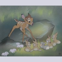 Disney Animation Production Cel Featuring Bambi and Bunnies On Courvoisier Background