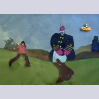 Original Beatles Production Cels From Yellow Submarine featuring George and Captain Fred