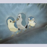 Walt Disney Production Cel on Courvoisier Background featuring birds