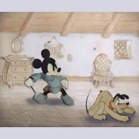 Original Walt Disney Production Cels on Production Background of Mickey Mouse and Pluto