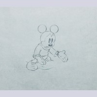 Original Walt Disney Production Drawing from Brave Little Tailor (1938) featuring Mickey Mouse