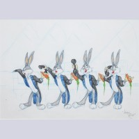 Warner Brothers Virgil Ross Animation Model Drawing of Bugs Bunny