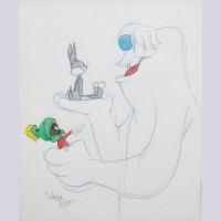 Warner Brothers Virgil Ross Animation Drawing of Bugs Bunny, Marvin the Martian, and Abominable Snowman
