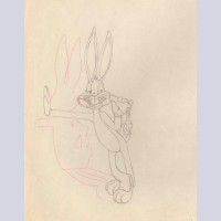 Original Warner Brothers Production Drawing Featuring Bugs Bunny