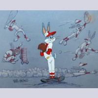 Original Warner Brothers Limited Edition Cel, Baseball Bugs, Signed by Friz Freleng