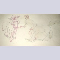 Original Disney Production Drawing of Belinda and Brutus from Fantasia