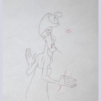 Original Walt Disney Production Drawing from Mulan (1998) featuring Chi-Fu