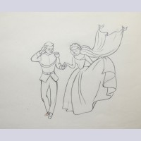 Original Walt Disney Production Drawing from Cinderella featuring Cinderella and Prince Charming