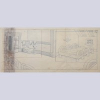 Original Walt Disney Pan Background Layout Drawing from Snow White and the Seven Dwarfs