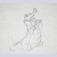 Original Walt Disney Production Drawing of Tick-Tock from Peter Pan