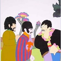 The Beatles Production Cels 3-Cel Set Up George, Ringo & John Yellow Submarine