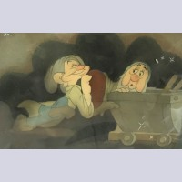 Walt Disney Production Cel on Courvoisier Background Featuring Dopey and Sleepy from Snow White and the Seven Dwarfs