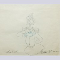 Original Walt Disney Production Drawing from Cinderella featuring the Grand Duke signed by Frank Thomas and Ollie Johnston