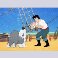 Original Walt Disney Production Cel from The Little Mermaid featuring Eric and Max