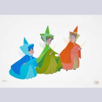 Original Disney Limited Edition Cel set up Featuring Flora, Fauna, and Merryweather from Sleeping Beauty