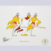 Original Warner Brothers Production Cel Featuring Foghorn Leghorn, Signed by Friz Freleng