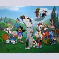 Original Warner Brothers Limited Edition Cel, Fore! Five!, Signed by Michael Jordan