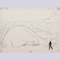 Original Production Drawing of Gertie the Dinosaur by Windsor McCay (1914)