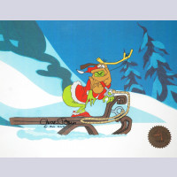 Original Signed Chuck Jones Production Cel of Max and the Grinch from How the Grinch Stole Christmas