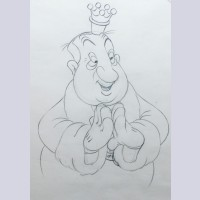 Original Walt Disney Production Drawing from Mother Goose Goes Hollywood (1938) featuring Hugh Herbert as Old King Cole