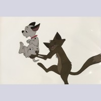 Original Walt Disney Production Cel from 101 Dalmatians featuring Lucky and Sergeant Tibbs