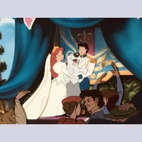Original Walt Disney Production Cel from The Little Mermaid featuring Ariel and Eric