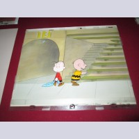 Original Peanuts Production Cel on Production Background featuring Linus and Charlie Brown from Someday You'll Find Her, Charlie Brown (1981)